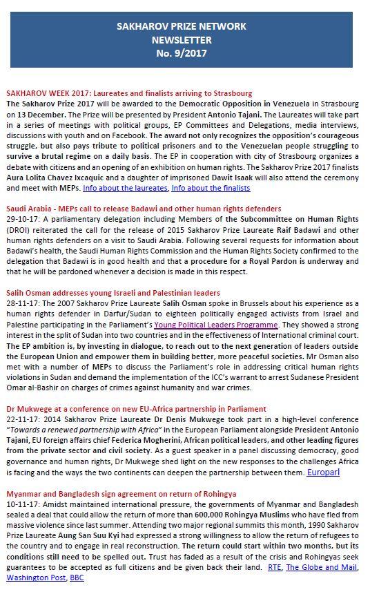 Sakharov Prize Network newsletter