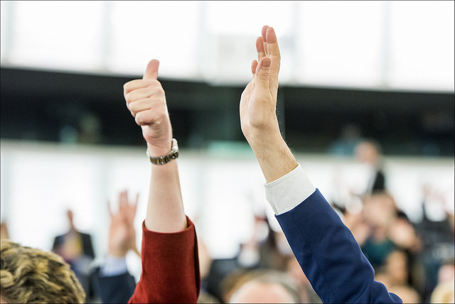 A show of hands voting in the plenary of the European Parliament