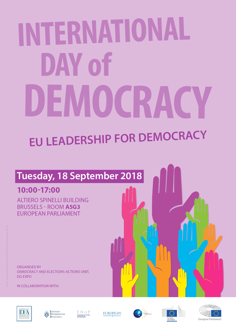 Poster announcing the 2018 International Day of Democracy event in the European Parliament with room number and time slot